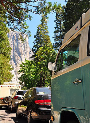 Being stuck in traffic in Yosemite Valley still felt like vacation with a magnificent view of El Capitan ahead.