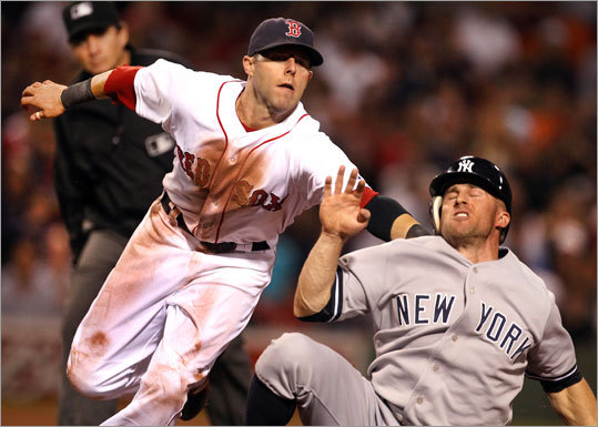 Sept. 1: Yankees 4, Red Sox 2 Second baseman Dustin Pedroia tagged out Yankees outfielder Brett Gardner between first and second base after Gardner was caught in a rundown on a steal attempt in the seventh inning.