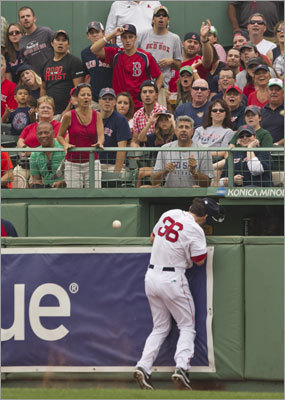 There was a scary moment in the third inning of the final game of the Red Sox' series against the Rangers when Red Sox right fielder Conor Jackson crashed into the outfield wall as he tried to track down a deep fly by Ian Kinsler. Jackson was shaken up on the play, but remained in the game for the rest of the inning. He was replaced by Darnell McDonald in the fourth inning. The Red Sox lost the final game of the series, 11-4.
