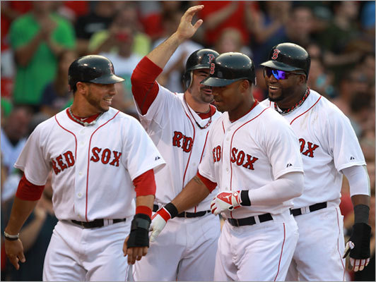 Sept. 3: Red Sox 12, Rangers 7 Carl Crawford belted a grand slam as part of an eight-run fourth inning that propelled the Red Sox to a 12-7 victory over the Rangers in the second game of their series at Fenway Park.