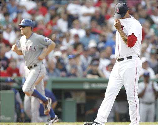 Sept. 4: Rangers 11, Red Sox 4 Relief pitcher Felix Doubront didn't fare much better than the man he replaced, starter John Lackey. Doubront pitched only 1/3 of an inning and allowed three runs on two hits.