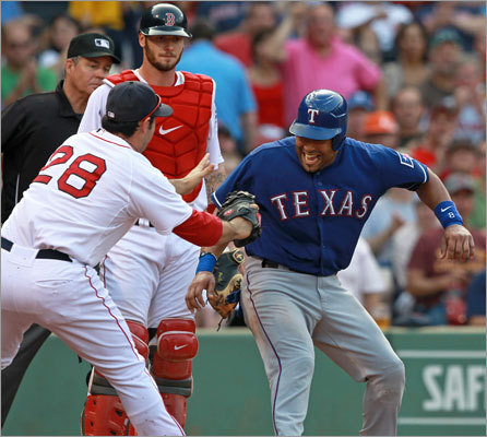 Sept. 3: Red Sox 12, Rangers 7 Red Sox first baseman Adrian Gonzalez tagged out Rangers catcher Yorvit Torrealba to complete an unassisted double play and end the fourth inning. Torrealba was caught attempting a suicide squeeze play.