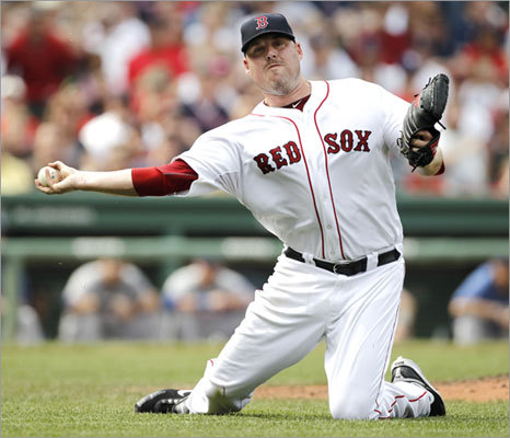 Sept. 4: Rangers 11, Red Sox 4 Red Sox starter John Lackey was charged with an error in the fifth inning when he threw the ball away on a bunt by Endy Chavez, who ended up on second base. Lackey pitched five innings and allowed six runs and eight hits.
