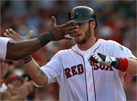 Sept. 3: Red Sox 12, Rangers 7 Red Sox catcher Jarrod Saltalamacchia hit a two-run home run off Rangers starter Colby Lewis in the fourth inning, his 14th dinger this season.