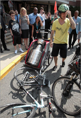 After his hospital visit, Andrew Ference loaded the Stanley Cup onto his bicycle's trailer and pedaled it around Boston and back to the North End, where he makes his in-season home.