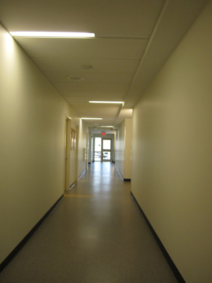 In accordance with recent green initiatives, the dormitory's hallways feature light-sensitive bulbs that automatically shut off when natural sunlight fills the space.
