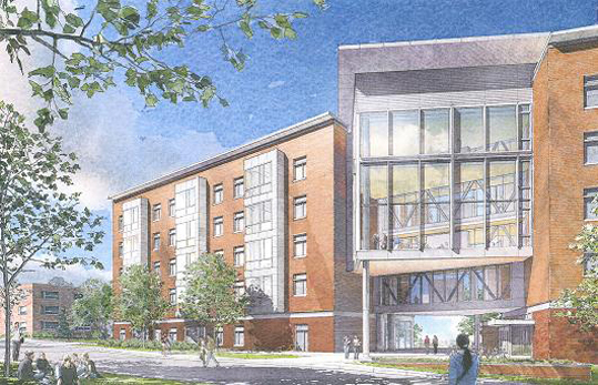 The constructed dorm bears close resemblance to a sketch drawn in 2009 of the proposed building.
