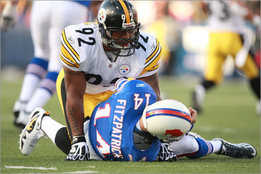5. James Harrison, Steelers 'He plays to his stature. He is low to ground and gets under pads. Great bull-rush, extremely powerful and explosive through hips and lower body.'