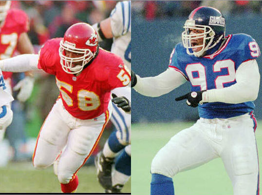 10. (Tie) Michael Strahan (right) and Derrick Thomas Matchup nightmares who got their sacks in bunches, including a game-record seven by Thomas in 1990.