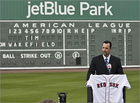 It was with a 'heavy heart' that Tim Wakefield announced his retirement in February of 2012 after 17 seasons with the Red Sox. The knuckleballer is the third winningest pitcher in team history, finishing his career with a record of 200-180 with a 4.41 ERA in 627 appearances.