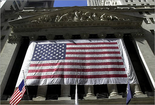 Patriotism was on display at the New York Stock Exchange days after the attacks.