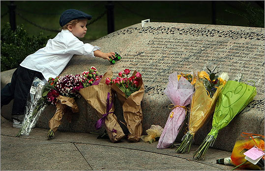 Marshall Gowell ran his toy truck near the name of his grandfather, Douglas Gowell of Methuen, on the stone memorial in the Garden of Remembrance in the Boston Public Garden. The Quincy toddler was with family members visiting the memorial; his grandfather was among the passengers killed aboard United Airlines Flight 175.