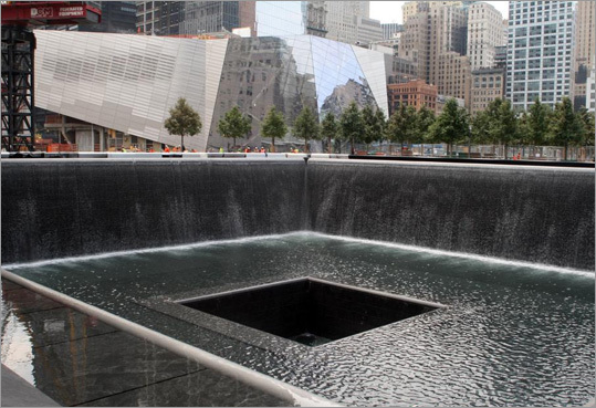 Two large sunken pools lined with waterfalls are the focus of the National 9/11 Memorial in New York City. Sometimes the most powerful form of commemoration is to preserve the place where the event happened. The two 9/11 memorials opening to the public ake this approach. Read: The sacred spaces of 9/11