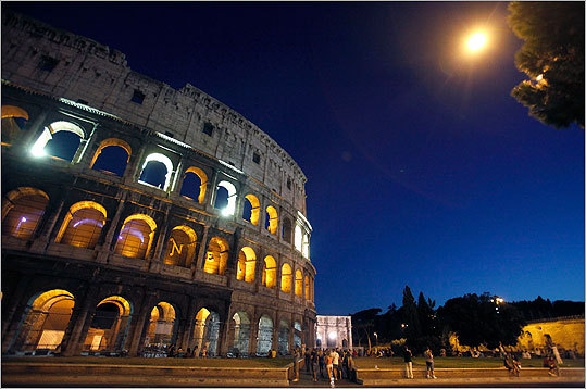 Rome's ancient Colosseum lit up to mark the 10th anniversary of the Sept. 11 attacks.