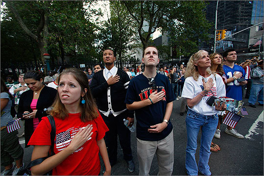 Reaction during the ceremonies near ground zero in New York City.