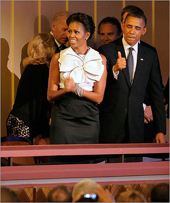 President Barack Obama gave a thumbs up as he arrived with Michelle Obama for a 'Concert for Hope' remembrance event on the 10th anniversary for the victims of the 9/11 attacks at the Kennedy Center for the Performing Arts in Washington D.C.