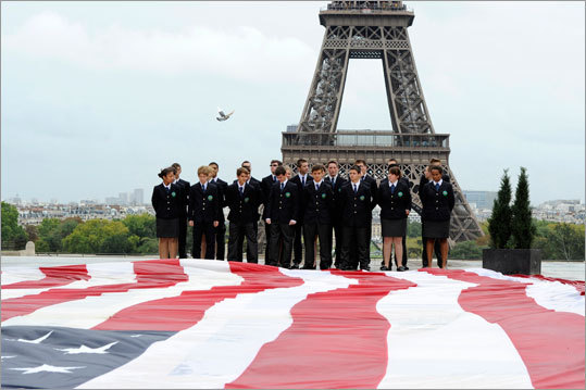 Students of Special Military School of Saint-Cyr stood next to a giant US flag during an event to mark the 9/11 anniversary.