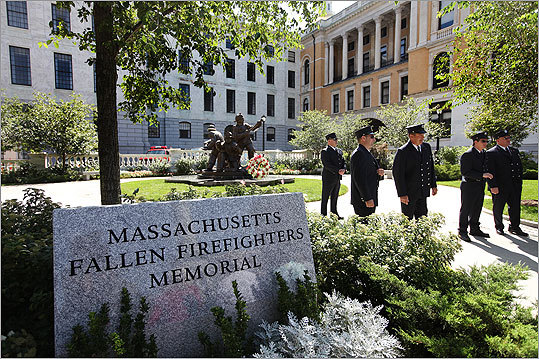 The Annual Massachusetts Fallen Firefighters Memorial Ceremony was held in Ashburton Park, next to the State House, on the 10th anniversary of the Sept. 11 attacks. Firefighters waited for the start of the ceremony.