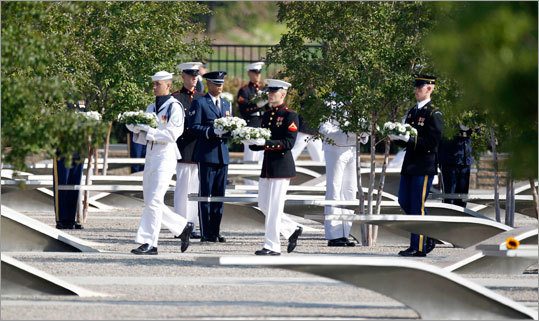 Military personnel distributed wreaths for each victim of the attack on the Pentagon.