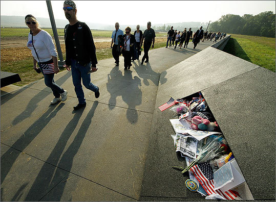 Visitors arrived for ceremonies to mark the 10th anniversary of Sept. 11 near the crash site of Flight 93 in Shanksville, Pa.