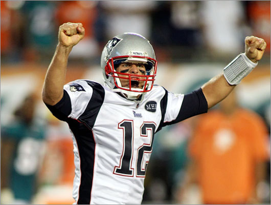 Patriots quarterback Tom Brady had a record-setting night, throwing for 517 yards in a 38-24 victory over the Dolphins in the season opener for both teams. Brady threw four touchdown passes, and his yardage was the fifth-best total ever by an NFL quarterback.
