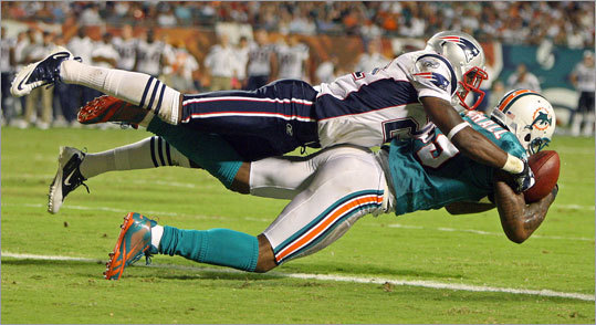 Patriots rookie cornerback Ras-I Dowling prevented Dolphins receiver Brandon Marshall from catching a pass near the goal line.