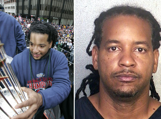 Manny Ramirez Former Red Sox outfielder and World Series MVP Manny Ramirez was arrested and charged with battery in September 2011 after a domestic dispute at his South Florida home, police said. Ramirez, 39, and his wife were arguing in their bedroom when he slapped her face, according to a police report. In May, the charges were dropped because prosecutors said his wife would not cooperate in the investigation.