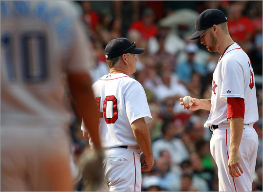 Red Sox reliever Daniel Bard gave up the go-ahead run in the eighth inning as the Sox blew a 4-2 lead to the Blue Jays in the finale of a mid-week series at Fenway Park. The loss was the sixth in seven tries for the Sox.