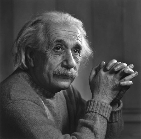 "Karsh emigrated to Canada as a boy and as a young man in the 1920s came to Boston to apprentice with the legendary portrait photographer John H. Garo, whose Back Bay studio would become, Karsh wrote later, 'my university."" A 1948 portrait of Albert Einstein by Karsh."
