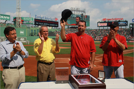Sept. 14: Blue Jays 5, Red Sox 4 Red Sox pitcher Tim Wakefield was honored for his 200th career win, which he reached the night before, before the afternoon game that concluded the short series. Owner Tom Werner, team president Larry Lucchino and manager Terry Francona took part in the pregame ceremony.