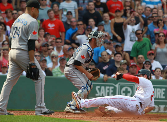 Sept. 14: Blue Jays 5, Red Sox 4 Jacoby Ellsbury scored in the third inning to make the score 3-2. Ellsbury tripled, then scored on a sacrifice by Marco Scutaro.