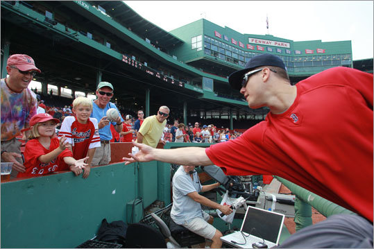 Sept. 14: Blue Jays 5, Red Sox 4 Sydney Mason of Topshan, Maine, received a baseball from relief pitcher Jonathan Papelbon.