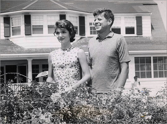 'I think it would be very cynical - and completely wrong - to see her remarks on these tapes as calculated myth-making. There is an off-the-cuff quality to these conversations, a rambling, even at times disjointed mood, that shows Jacqueline Kennedy in a reflective mood. Much of what we hear is quite unvarnished.' The president and his wife stood outside the main house of the Kennedy Compound in Hyannis Port on July 20, 1957.
