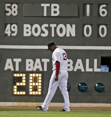April 11-12, 2011 The scoreboard behind Red Sox left fielder Carl Crawford showed the hurting his old team was putting on his new team in Crawford's first game against Tampa Bay since changing teams in the off-season. The Rays walloped the Sox 16-5 and went on to sweep the two-game series at Fenway when David Price outdueled Jon Lester in a 3-2 Boston loss.