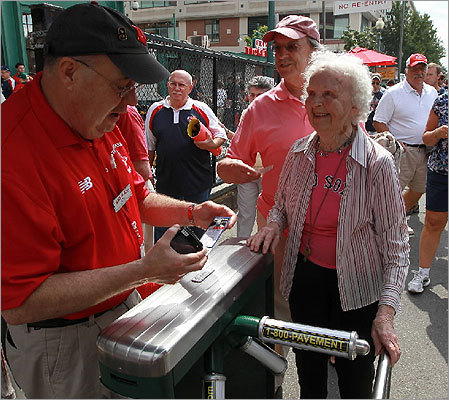 Red Sox fan Betty Johnson, 88, had never seen the team's historic field in person until her family came together to take her there this year. Here is a look at her first time at Fenway. To read the full story, click here.