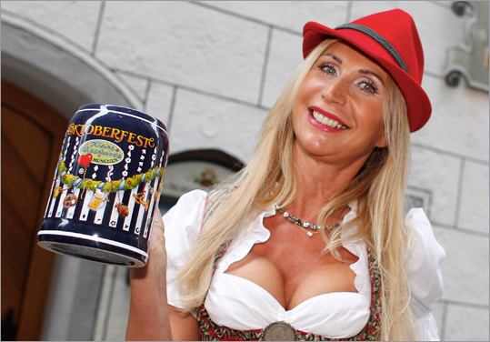 Oktoberfest innkeeper Katharina Wiemes presented a new beer mug of an edition to be used by the so-called 'small' Oktoberfest innkeepers.