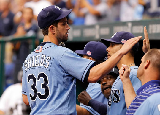Sept. 9-11, 2011 Rays ace James Shields was congratulated after leaving the game in the ninth inning against the Red Sox at Tropicana Field. The Rays won the game 9-1 to complete a three-game sweep and improve to 9-5 against Boston in 2011, including 4-1 at Fenway.