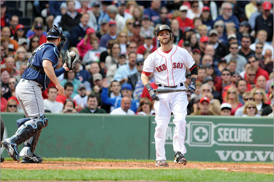 Sept. 18: Rays 8, Red Sox 5 Dustin Pedroia struck out to end the first inning, leaving Mike Aviles stranded at second base. Catcher Kelly Shoppach is at left.