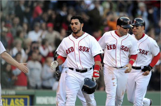 Sept. 18: Rays 8, Red Sox 5 Third baseman Mike Aviles hit a three-run home run in the bottom of the seventh to make it 8-5, but the Red Sox could get no closer.