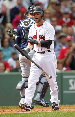 Sept. 18: Rays 8, Red Sox 5 Dustin Pedroia howled in frustration after striking out in the bottom of the first.
