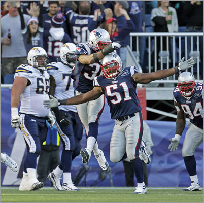 Patriots linebacker Jerod Mayo was flying high after he stopped Chargers fullback Mike Tolbert ona 4th-and-goal play in the first half of the Patriots' 35-21 victory in their first game at Gillette Stadium this season. The Patriots scored on the ensuing drive, and later scored their second straight victory to start the season.