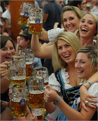 A celebratory scene inside a beer tent.