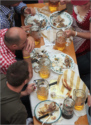 Visitors enjoyed beer and traditional German food inside the Loewenbraeu beer tent.