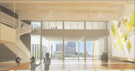 The college's galleries and design and media center will both be fitted with glass entryways that will give it a brighter presence on Huntington Avenue where its 6.4-acre campus sits on the edge of the Fenway's burgeoning cultural and academic cluster. That work does not involve construction of new buildings, but the renovation of existing structures.