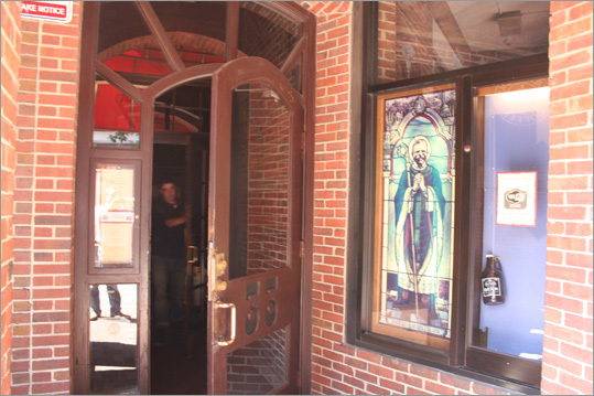 Correct answer: At the entrance to John Harvard's Brew House