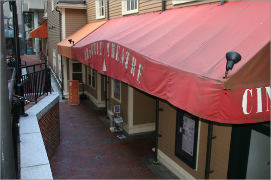 Correct answer: A slit in the Brattle Theater awning