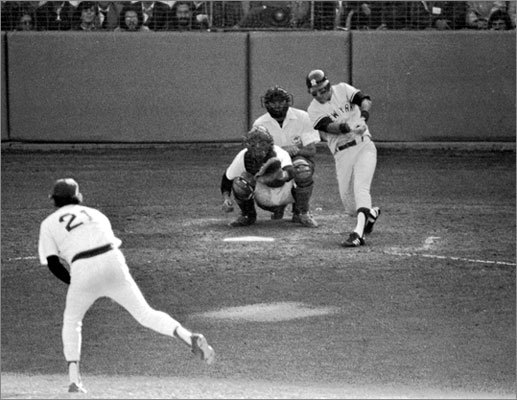 "1978: It was the mother of all collapses. The Red Sox were 57-26 in the first half of the season and led the AL East by as much as 10 games. On July 19, the Red Sox led the fourth-place Yankees by 14 games. Suddenly the Red Sox lost 14 of 17 games, then the Yankees came to Fenway Park and swept the Red Sox in a four-game series known as ""The Boston Massacre."" The Red Sox bounced back and won their final eight games to force a one-game playoff at Fenway Park. Enter Bucky Dent. Exit Red Sox. The Yankees' light-hitting shortstop belted a pop fly over the left-field wall and the Yankees won 5-4 to advance to the playoffs and eventually win their second consecutive World Series."