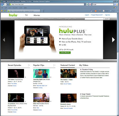 Hulu and Hulu Plus Besides a free option, Hulu Plus subscribers can pay $8 per month for more content, high-definition viewing, and access on the iPad and newer-model iPhones, as well as video game consoles and high-end TV sets from Samsung, Sony, or others. Hulu's content skews more toward TV shows than movies, though both are available. It's a good option for those looking to watch shows such as the 'Daily Show,' 'Family Guy' or 'The Office.' Both Hulu and Hulu Plus show advertisements, though on Hulu Plus there are movies available without commercials.