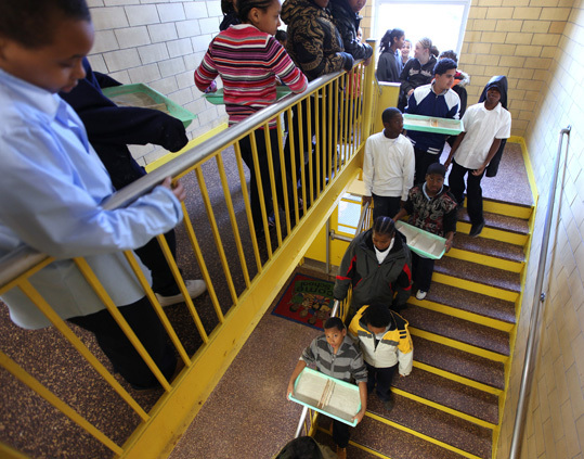 Greenwood (Elihu) Leadership Academy, Hyde Park Of the students at this Hyde Park school, 30% scored proficient or advanced, beating last year's 19%. In math, 32% were proficient, compared to last year's 24%. At left, a 5th-grade class heads outside to work on a science project.