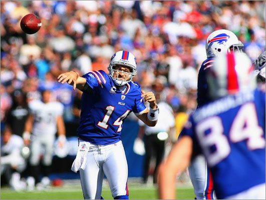 1. Ryan Fitzpatrick is taking advantage of chance Fans who saw Fitzpatrick play at Harvard were always aware of his strong arm and mobility, but his occasional struggles with accuracy left him pigeonholed as primarily a backup. But he made a career-high 13 starts for the Bills last year, throwing for 3,000 yards and 23 touchdowns, and he entered this season, his seventh in the league, as a starter for the first time. He's been terrific so far, completing 63.4 percent of his passes for seven touchdowns and just one interception.